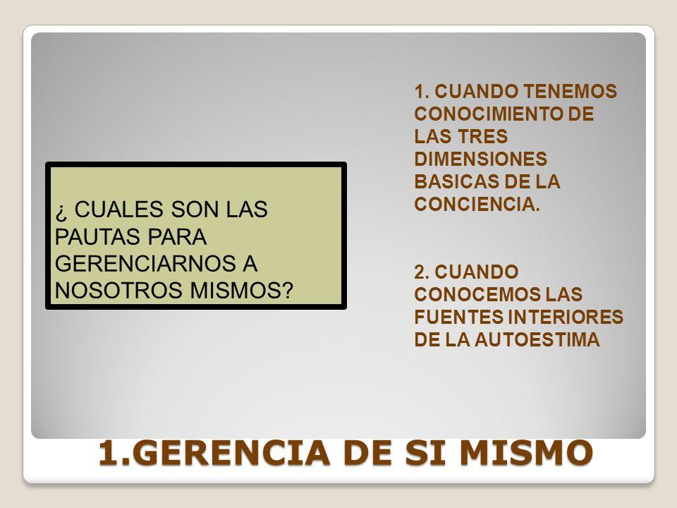 1. CUANDO TENEMOS CONOCIMIENTO DE LAS TRES DIMENSIONES BASICAS DE LA CONCIENCIA.