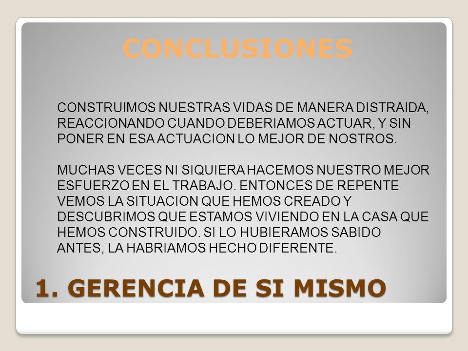 CONCLUSIONES 1. GERENCIA DE SI MISMO