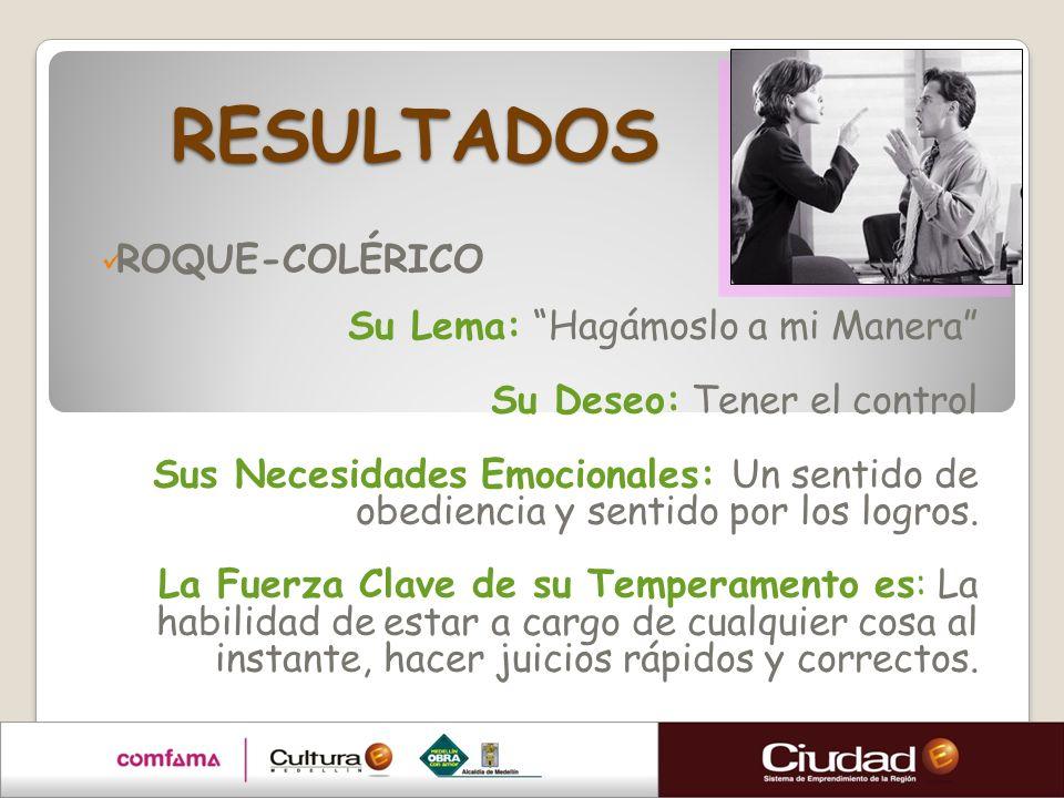 RESULTADOS ROQUE-COLÉRICO Su Lema: Hagámoslo a mi Manera