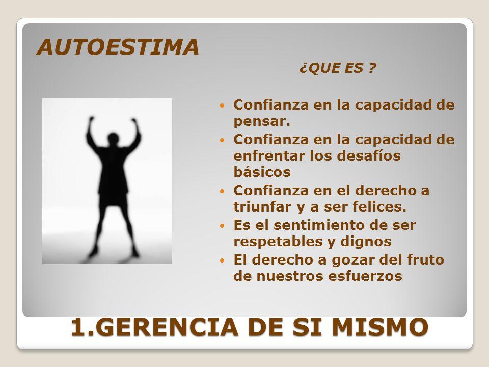 1.GERENCIA DE SI MISMO AUTOESTIMA ¿QUE ES