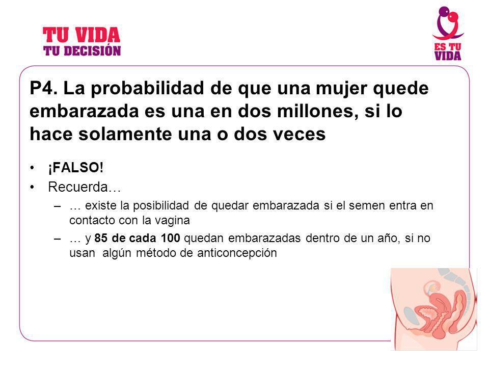 P4. La probabilidad de que una mujer quede embarazada es una en dos millones, si lo hace solamente una o dos veces