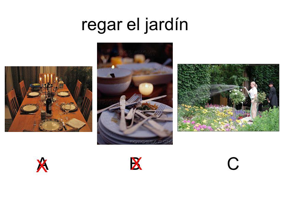 regar el jardín A B X C X