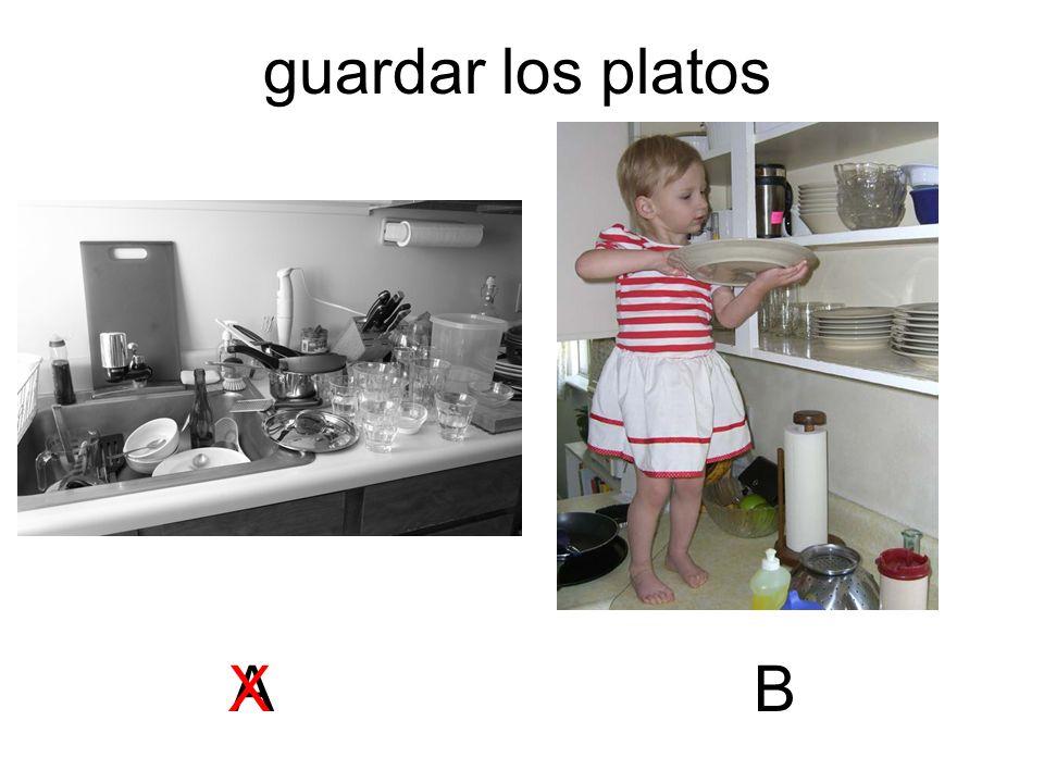 guardar los platos A X B