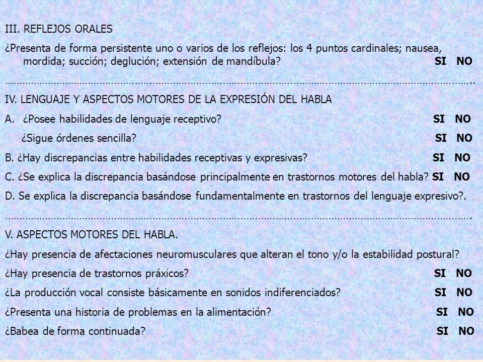 III. REFLEJOS ORALES