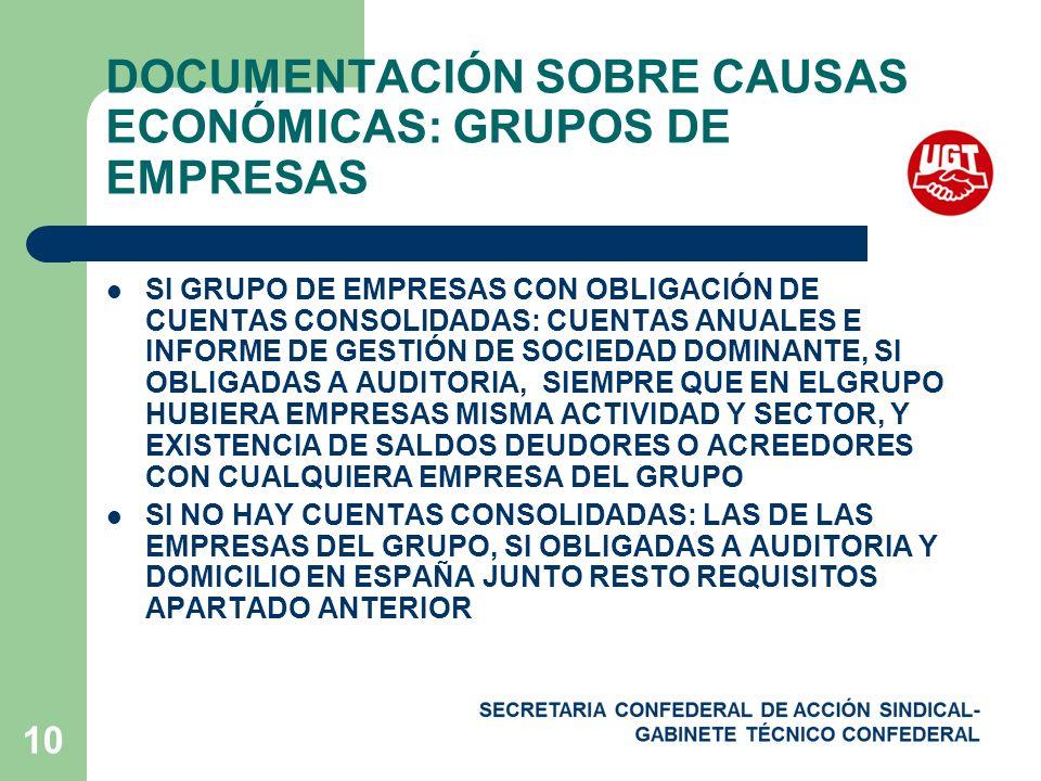 DOCUMENTACIÓN SOBRE CAUSAS ECONÓMICAS: GRUPOS DE EMPRESAS