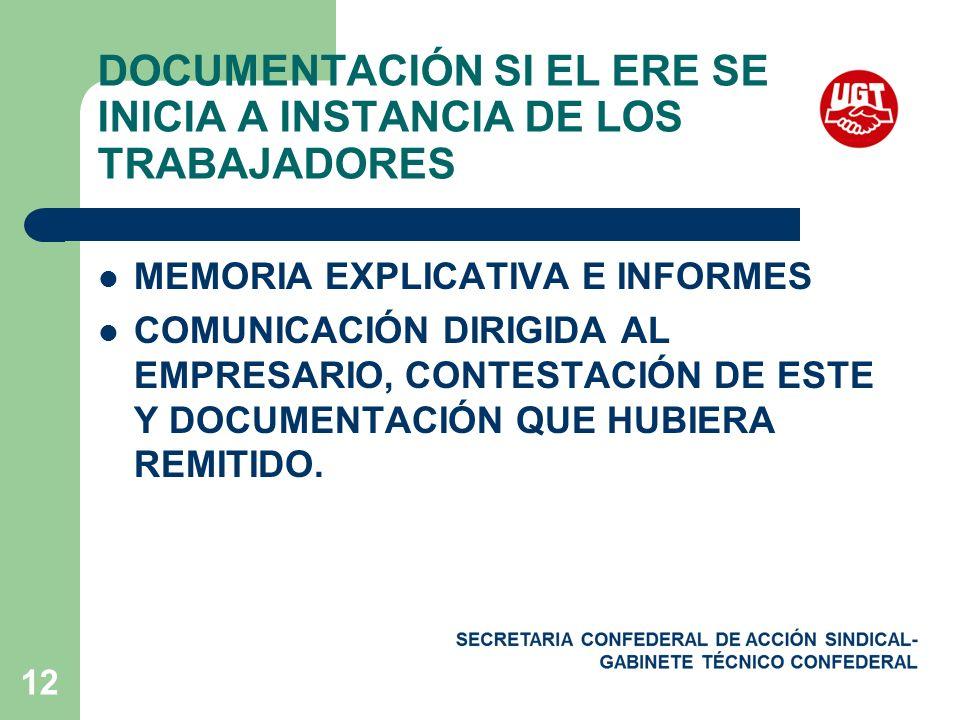 DOCUMENTACIÓN SI EL ERE SE INICIA A INSTANCIA DE LOS TRABAJADORES