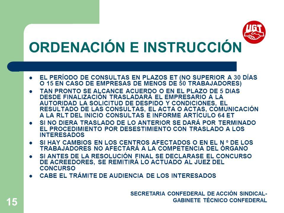 ORDENACIÓN E INSTRUCCIÓN