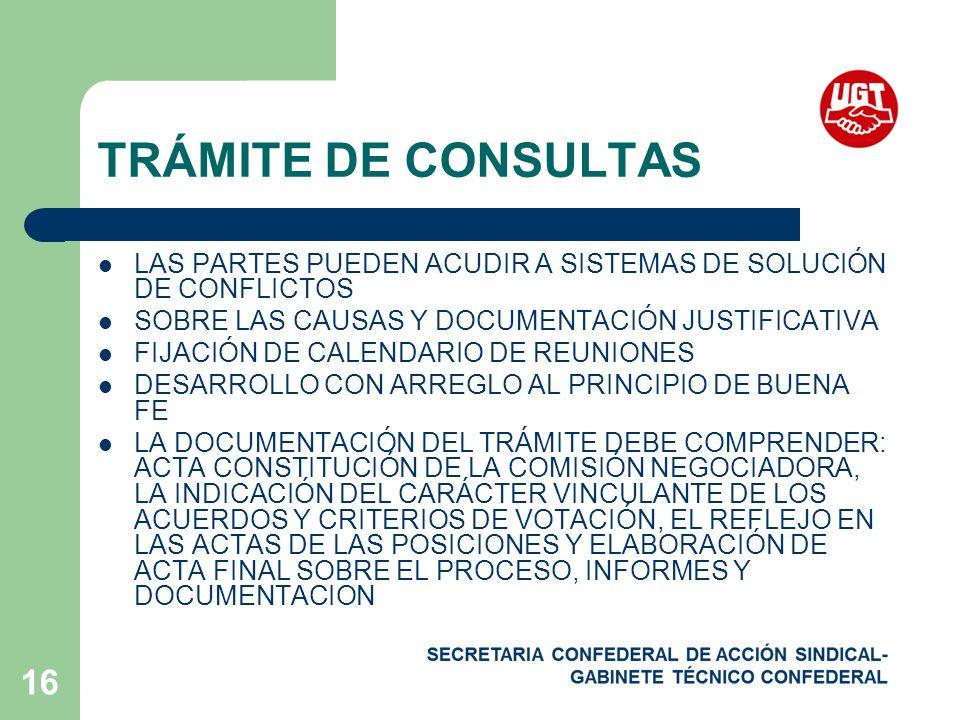 TRÁMITE DE CONSULTAS LAS PARTES PUEDEN ACUDIR A SISTEMAS DE SOLUCIÓN DE CONFLICTOS. SOBRE LAS CAUSAS Y DOCUMENTACIÓN JUSTIFICATIVA.