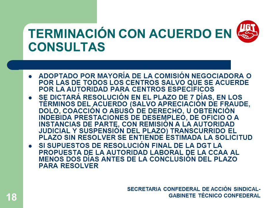 TERMINACIÓN CON ACUERDO EN CONSULTAS