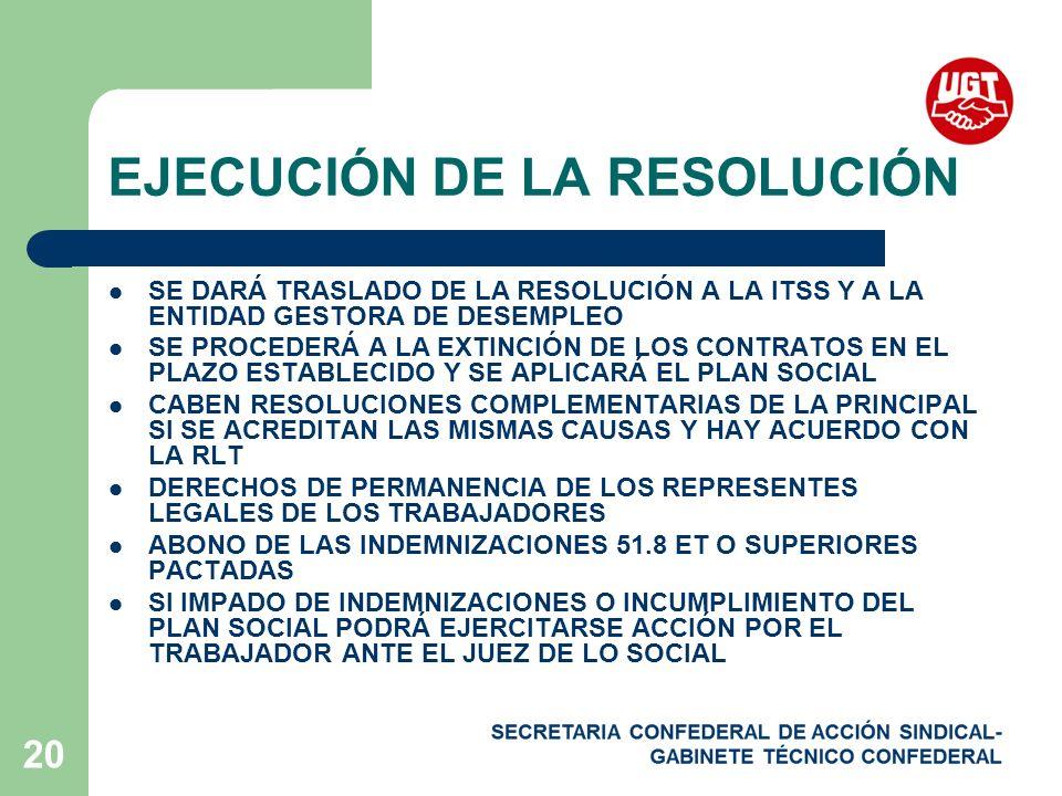 EJECUCIÓN DE LA RESOLUCIÓN