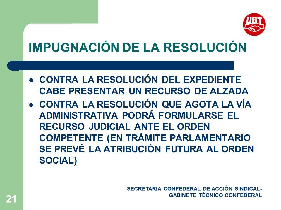 IMPUGNACIÓN DE LA RESOLUCIÓN