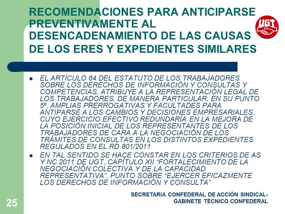 RECOMENDACIONES PARA ANTICIPARSE PREVENTIVAMENTE AL DESENCADENAMIENTO DE LAS CAUSAS DE LOS ERES Y EXPEDIENTES SIMILARES