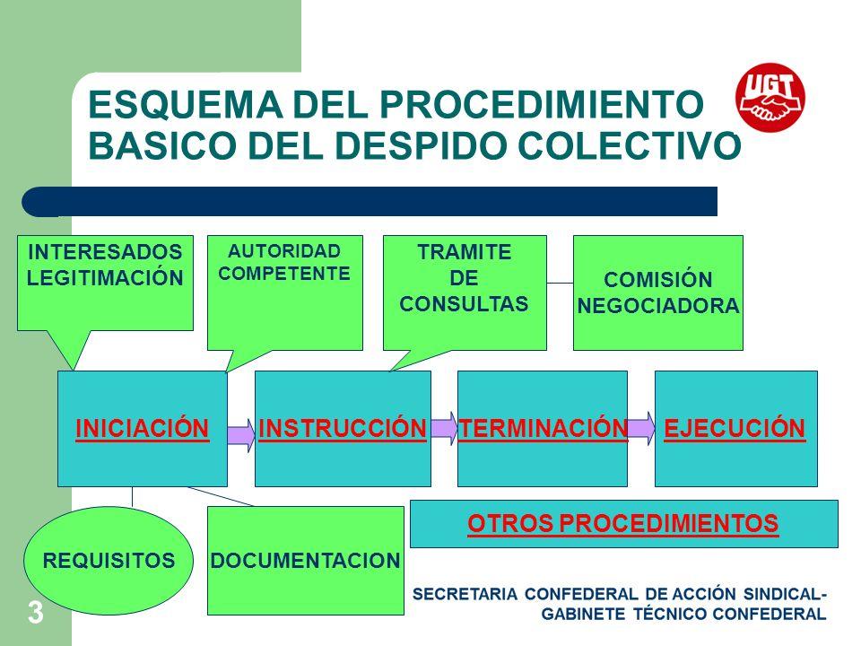 ESQUEMA DEL PROCEDIMIENTO BASICO DEL DESPIDO COLECTIVO