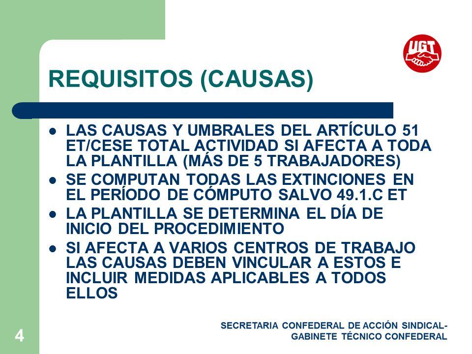 REQUISITOS (CAUSAS) LAS CAUSAS Y UMBRALES DEL ARTÍCULO 51 ET/CESE TOTAL ACTIVIDAD SI AFECTA A TODA LA PLANTILLA (MÁS DE 5 TRABAJADORES)