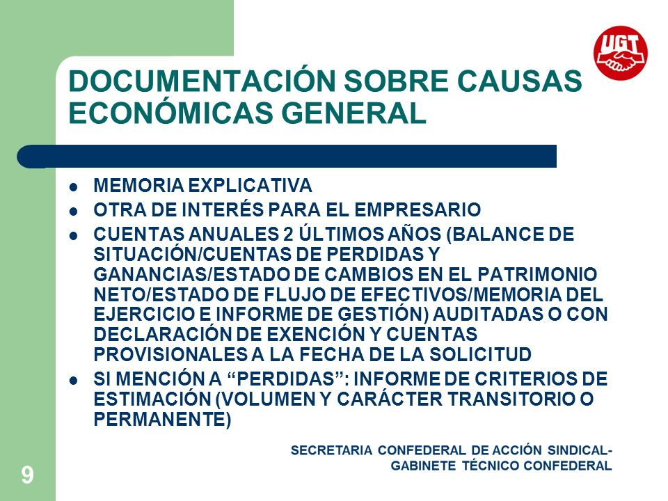 DOCUMENTACIÓN SOBRE CAUSAS ECONÓMICAS GENERAL