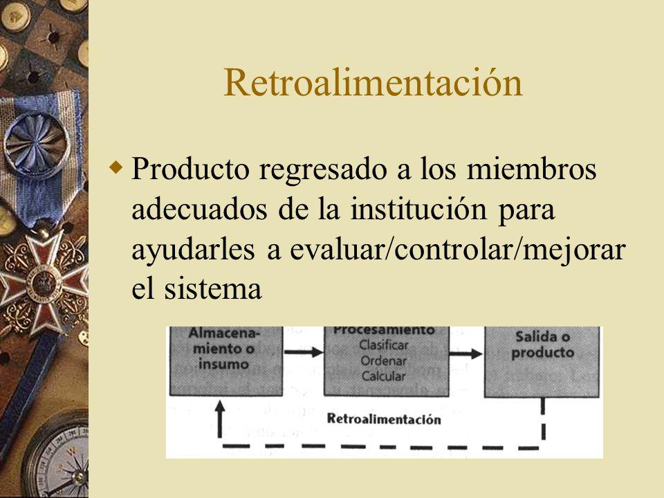Retroalimentación Producto regresado a los miembros adecuados de la institución para ayudarles a evaluar/controlar/mejorar el sistema.