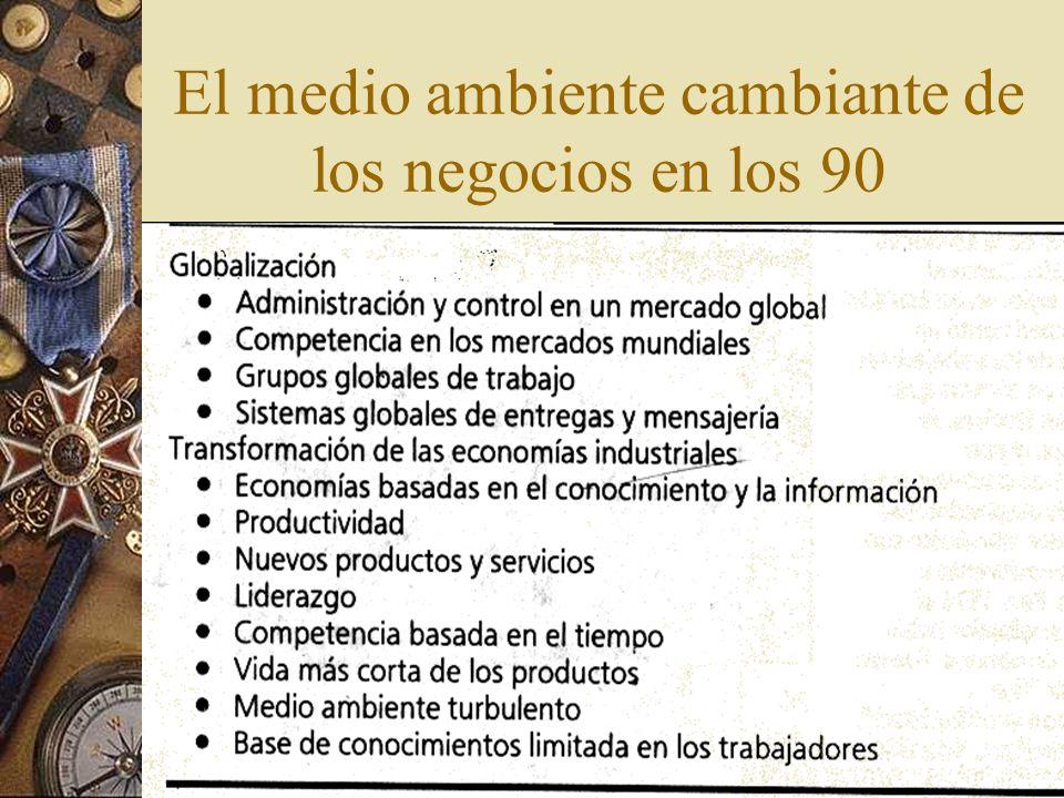 El medio ambiente cambiante de los negocios en los 90