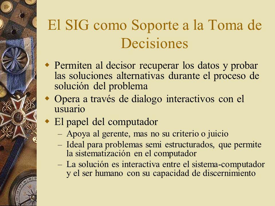 El SIG como Soporte a la Toma de Decisiones