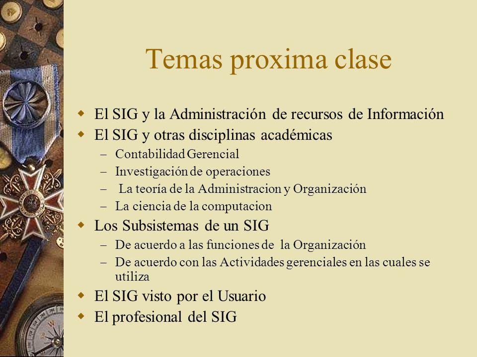 Temas proxima clase El SIG y la Administración de recursos de Información. El SIG y otras disciplinas académicas.
