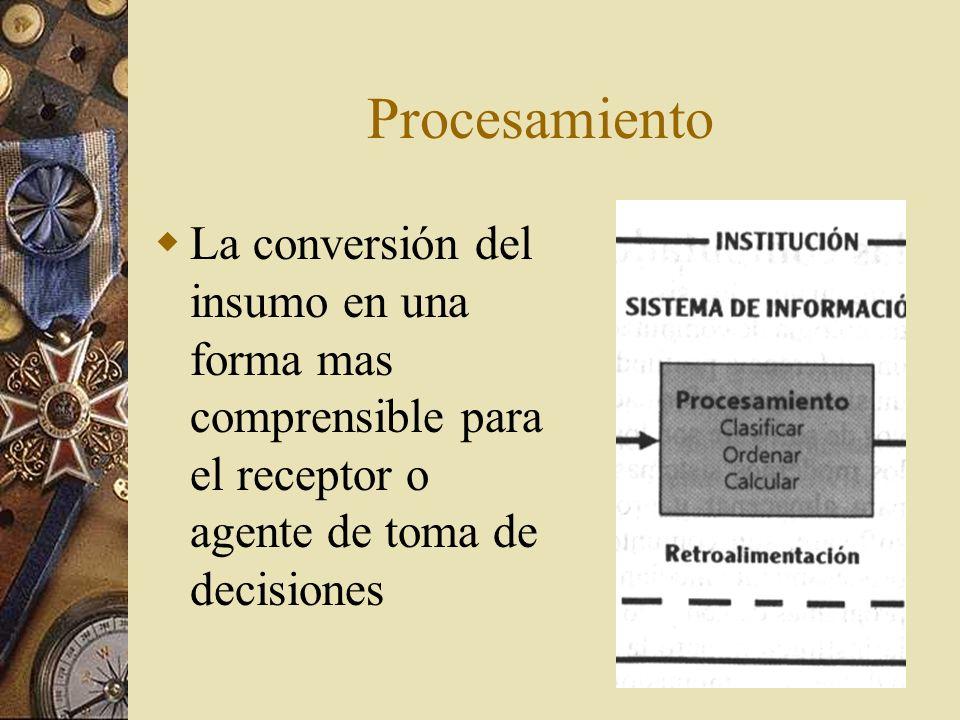Procesamiento La conversión del insumo en una forma mas comprensible para el receptor o agente de toma de decisiones.