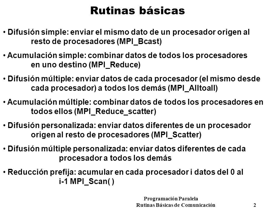 Rutinas básicas Difusión simple: enviar el mismo dato de un procesador origen al resto de procesadores (MPI_Bcast)