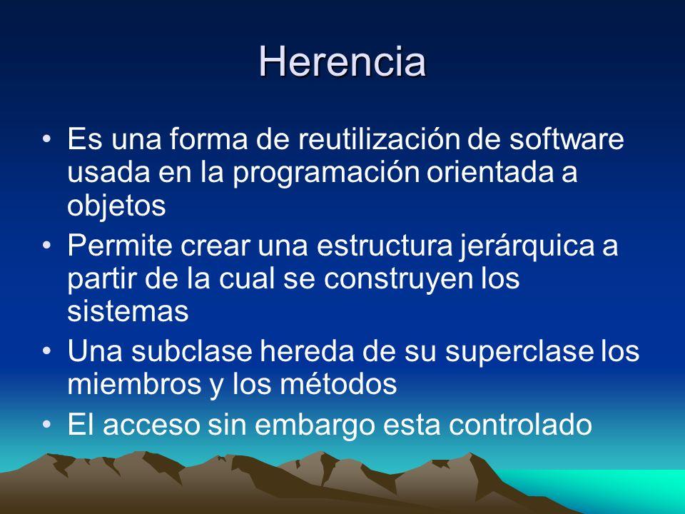 Herencia Es una forma de reutilización de software usada en la programación orientada a objetos.
