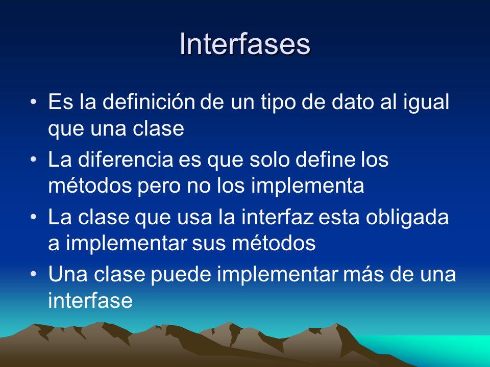 Interfases Es la definición de un tipo de dato al igual que una clase