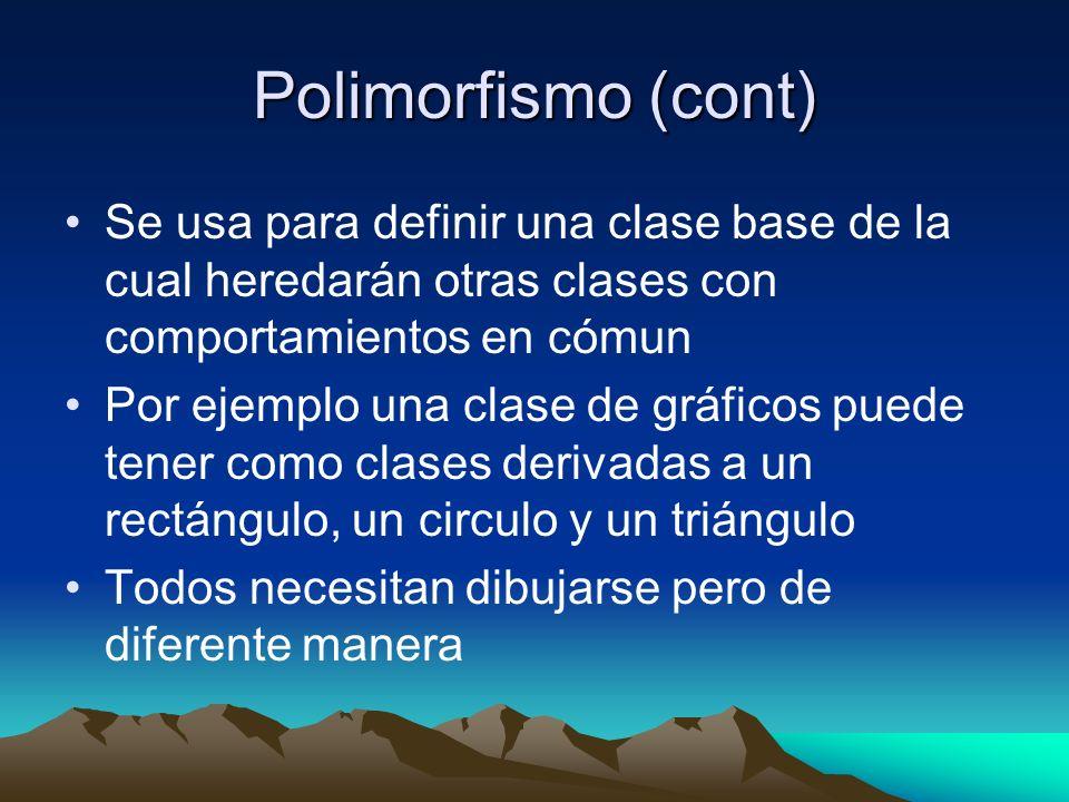 Polimorfismo (cont) Se usa para definir una clase base de la cual heredarán otras clases con comportamientos en cómun.