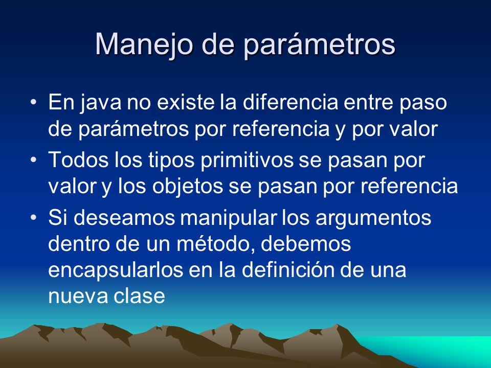 Manejo de parámetros En java no existe la diferencia entre paso de parámetros por referencia y por valor.