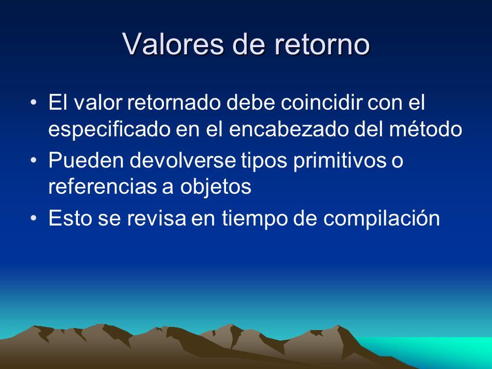 Valores de retorno El valor retornado debe coincidir con el especificado en el encabezado del método.