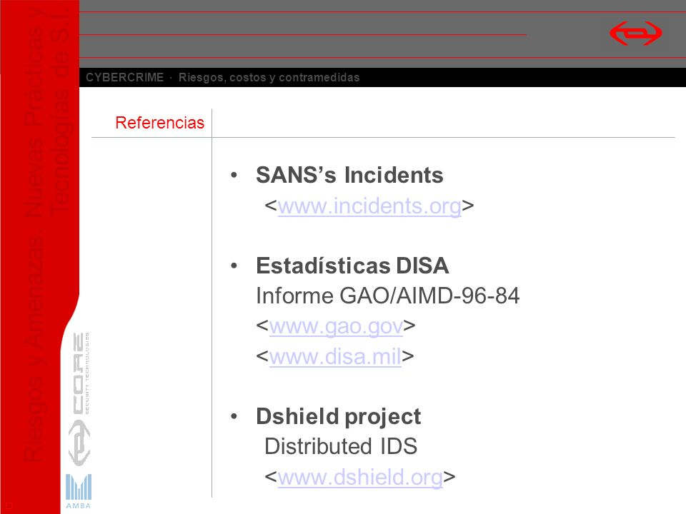 SANS's Incidents <www.incidents.org> Estadísticas DISA
