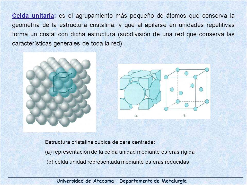 Celda unitaria: es el agrupamiento más pequeño de átomos que conserva la geometría de la estructura cristalina, y que al apilarse en unidades repetitivas forma un cristal con dicha estructura (subdivisión de una red que conserva las características generales de toda la red) .