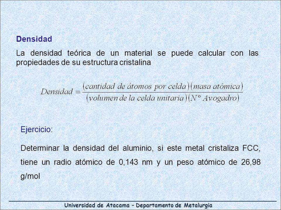 Densidad La densidad teórica de un material se puede calcular con las propiedades de su estructura cristalina.