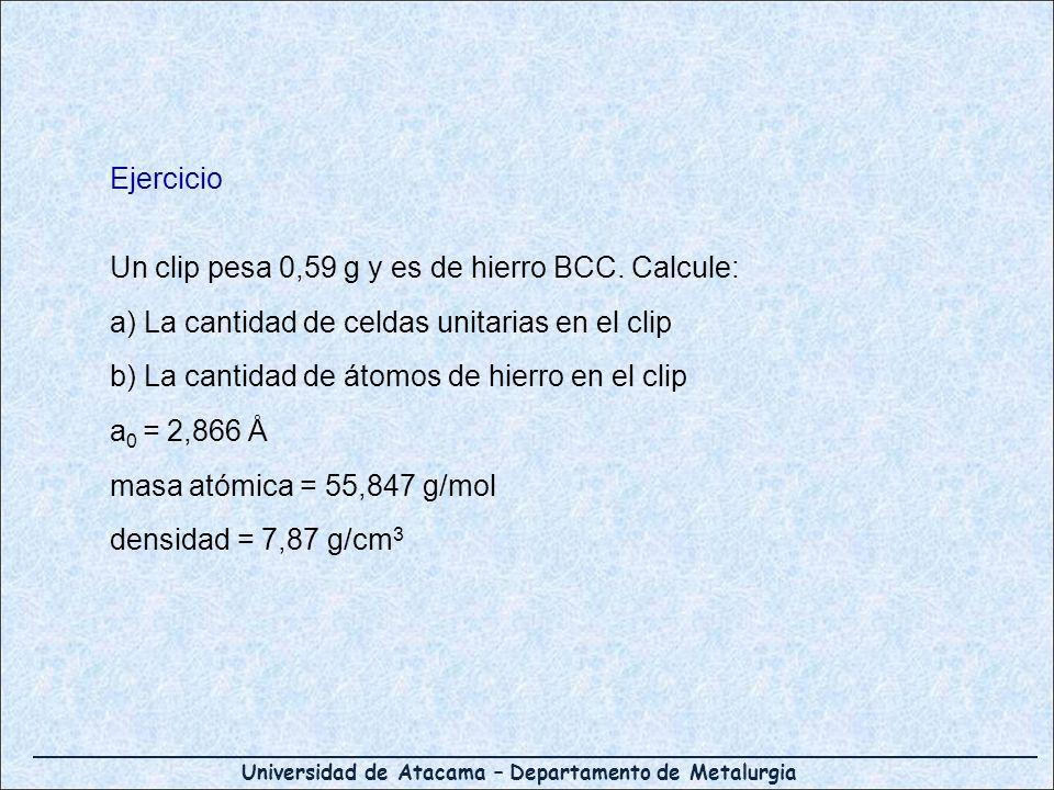 Ejercicio Un clip pesa 0,59 g y es de hierro BCC. Calcule: a) La cantidad de celdas unitarias en el clip.