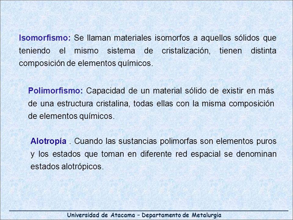 Isomorfismo: Se llaman materiales isomorfos a aquellos sólidos que teniendo el mismo sistema de cristalización, tienen distinta composición de elementos químicos.