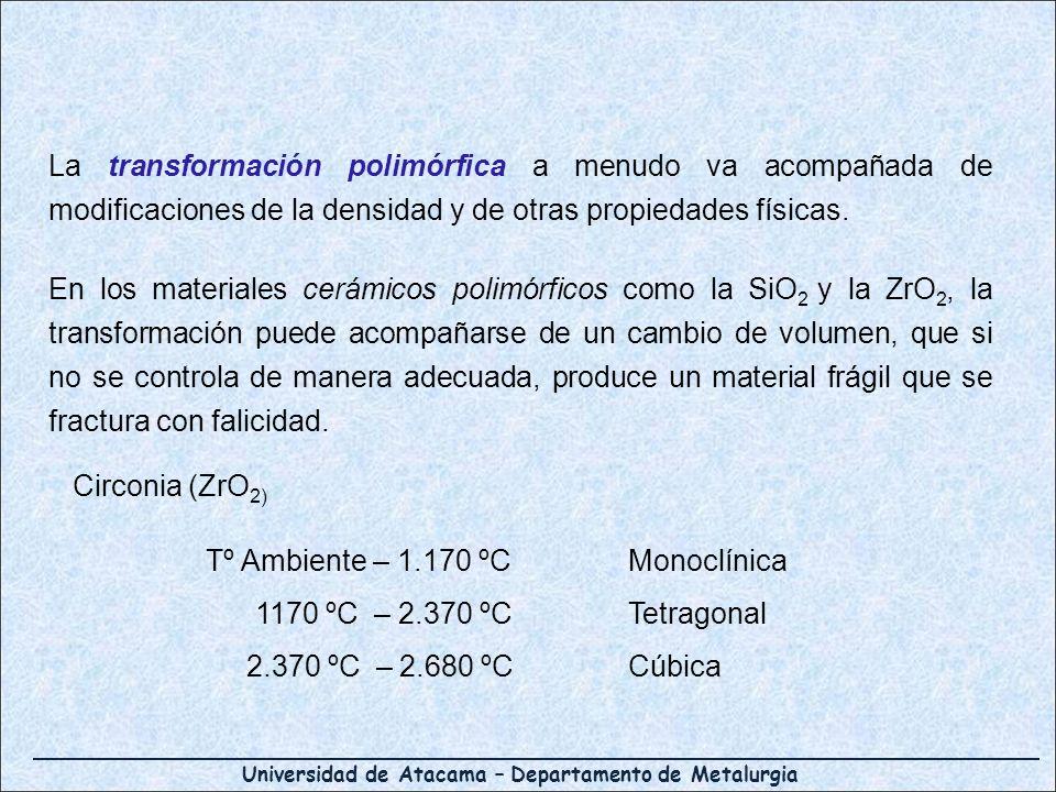 La transformación polimórfica a menudo va acompañada de modificaciones de la densidad y de otras propiedades físicas.