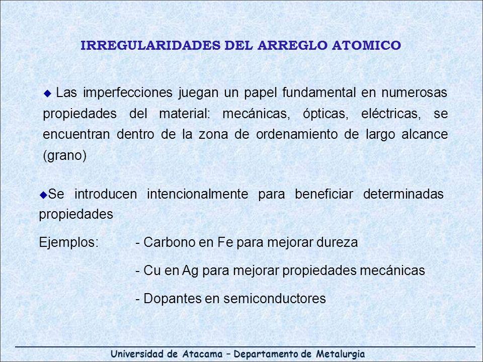 IRREGULARIDADES DEL ARREGLO ATOMICO