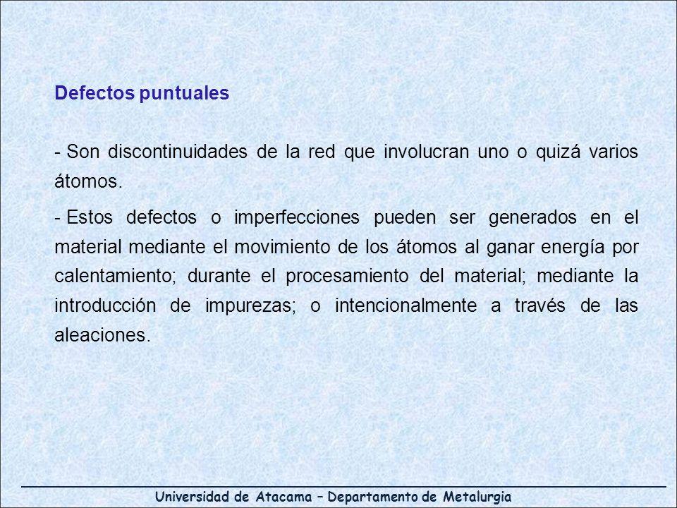 Defectos puntuales Son discontinuidades de la red que involucran uno o quizá varios átomos.