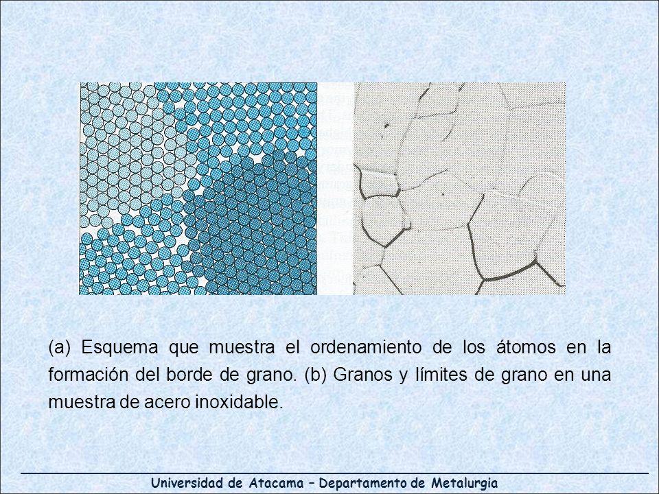 (a) Esquema que muestra el ordenamiento de los átomos en la formación del borde de grano.