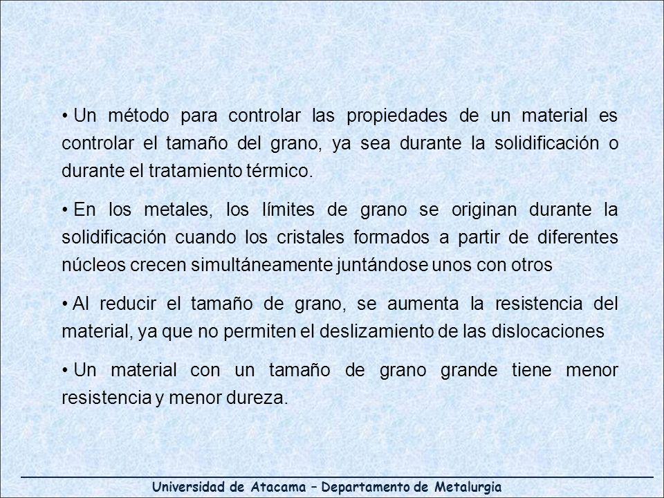 Un método para controlar las propiedades de un material es controlar el tamaño del grano, ya sea durante la solidificación o durante el tratamiento térmico.
