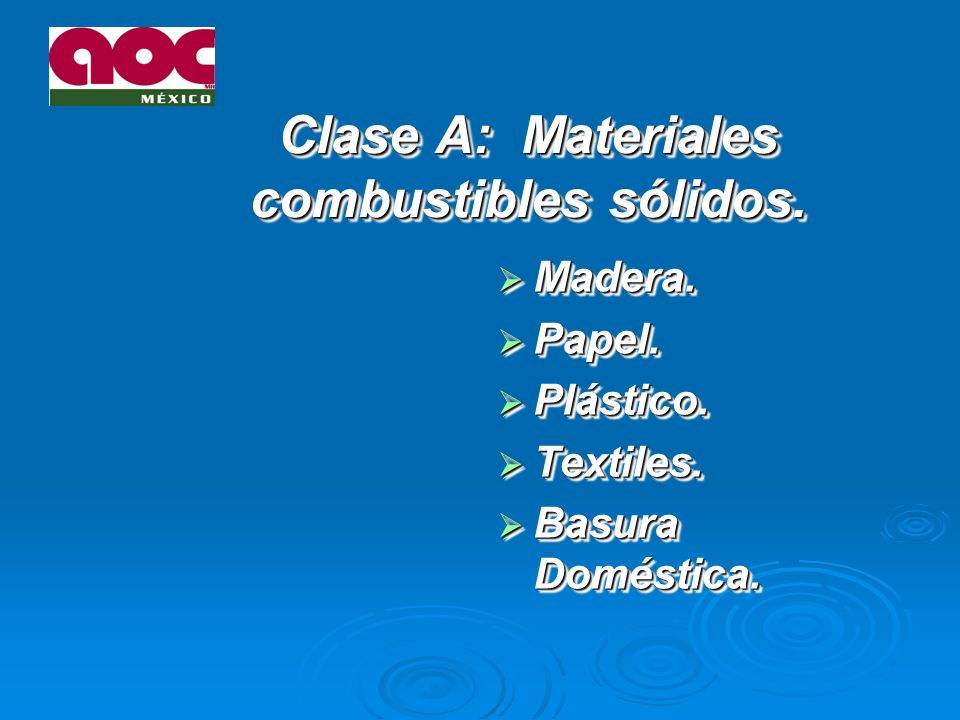 Clase A: Materiales combustibles sólidos.