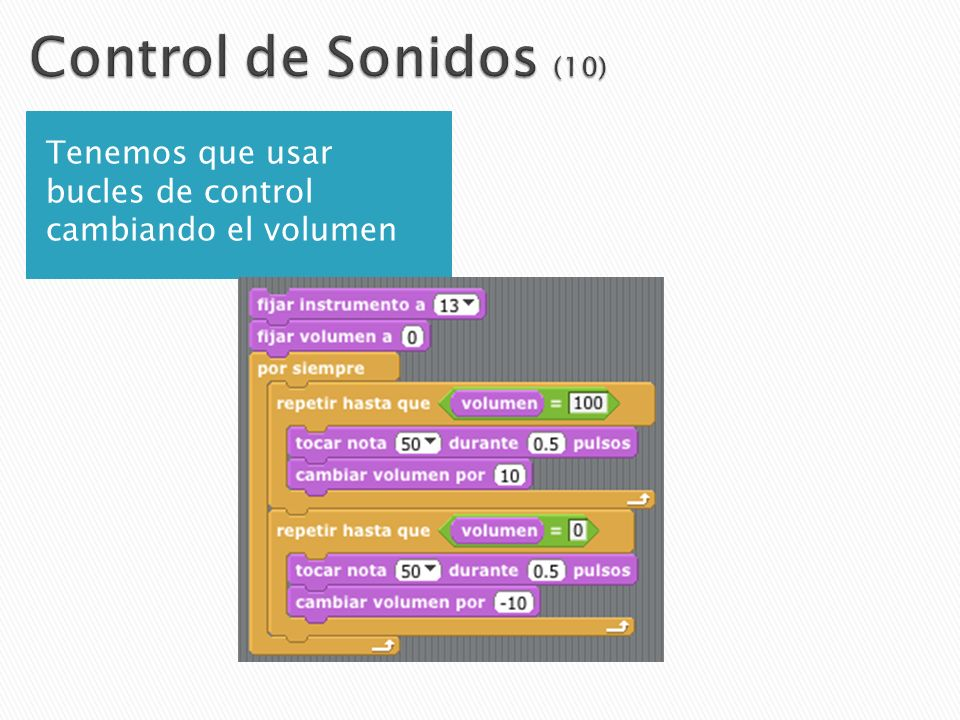 Control de Sonidos (10) Tenemos que usar bucles de control cambiando el volumen