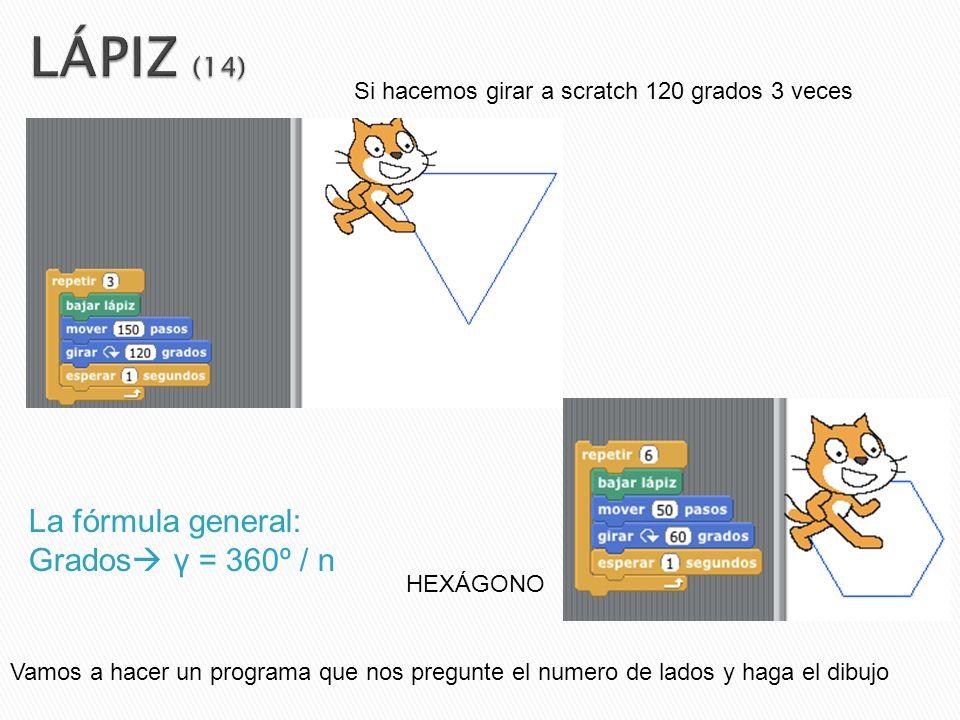 LÁPIZ (14) La fórmula general: Grados γ = 360º / n