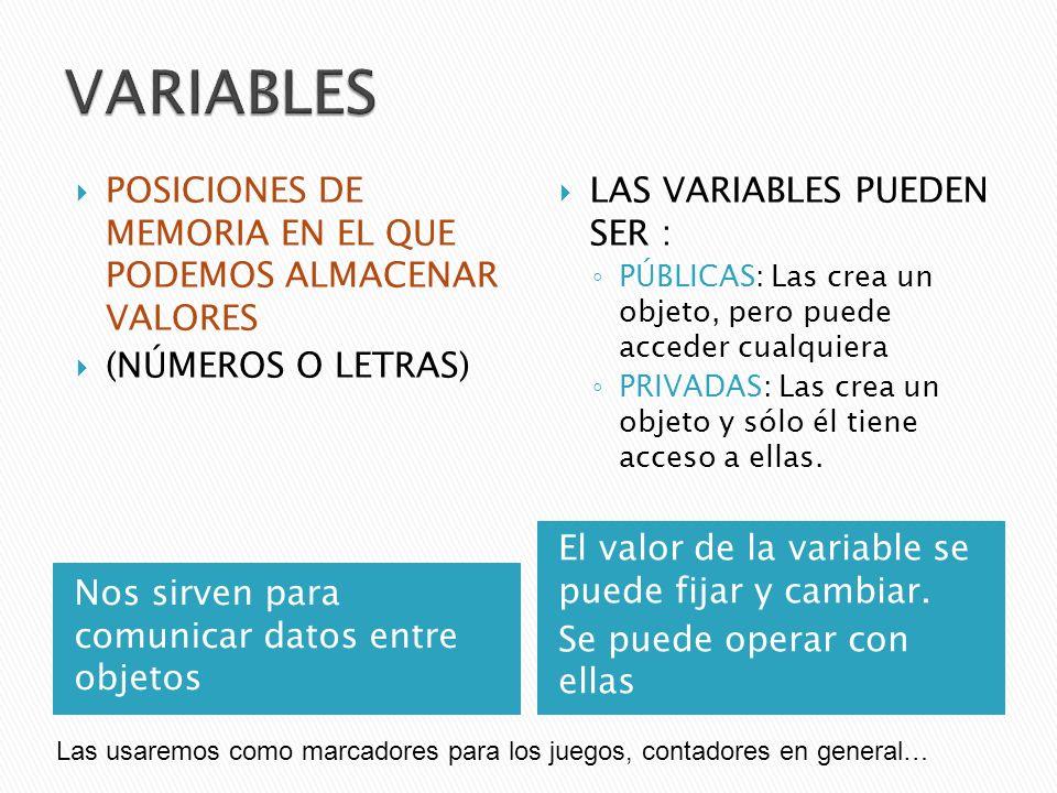 VARIABLES POSICIONES DE MEMORIA EN EL QUE PODEMOS ALMACENAR VALORES