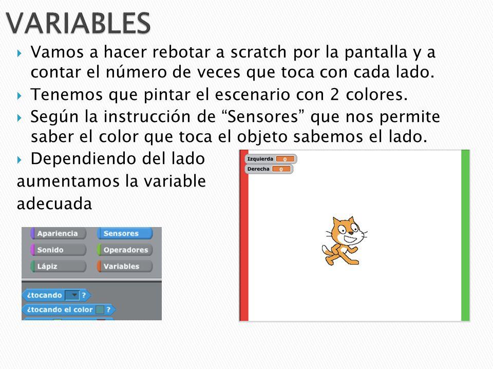 VARIABLES Vamos a hacer rebotar a scratch por la pantalla y a contar el número de veces que toca con cada lado.