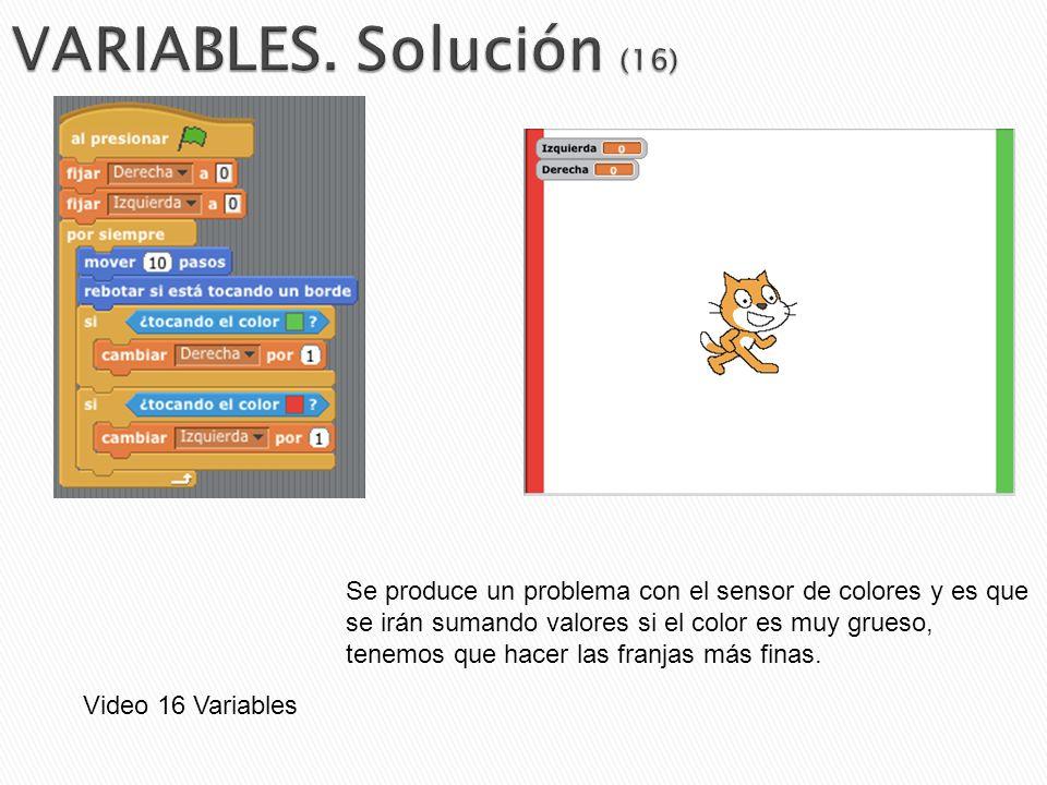 VARIABLES. Solución (16) Se produce un problema con el sensor de colores y es que. se irán sumando valores si el color es muy grueso,