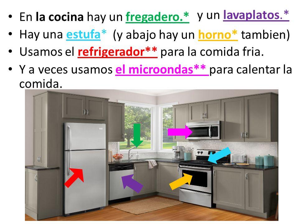 y un lavaplatos.* En la cocina hay un fregadero.* Hay una estufa* Usamos el refrigerador** para la comida fria.