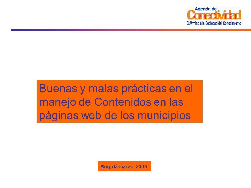 Buenas y malas prácticas en el manejo de Contenidos en las páginas web de los municipios
