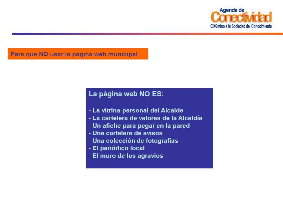 La página web NO ES: Para qué NO usar la página web municipal