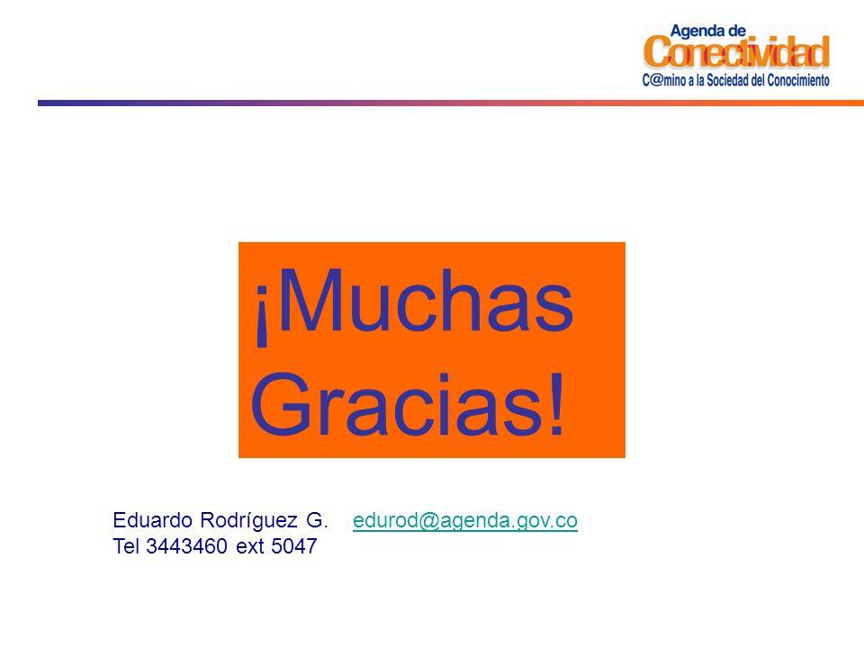 ¡Muchas Gracias! Eduardo Rodríguez G. edurod@agenda.gov.co